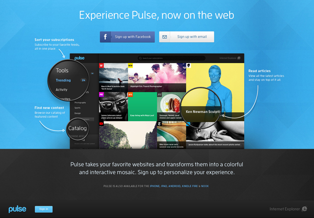 Pulse web app landing page
