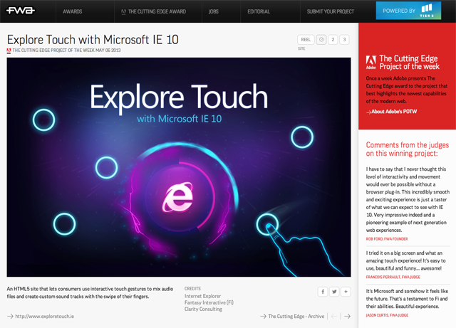 Adobe - TheFWA | The Cutting Edge award winner | Explore Touch with Microsoft IE 10